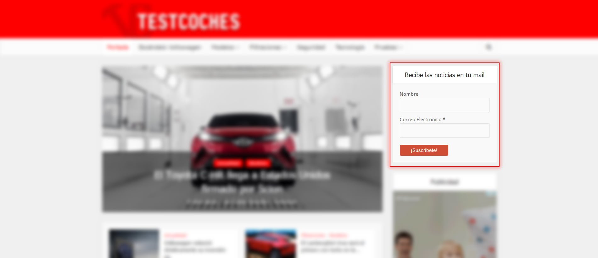 newsletter testcoches