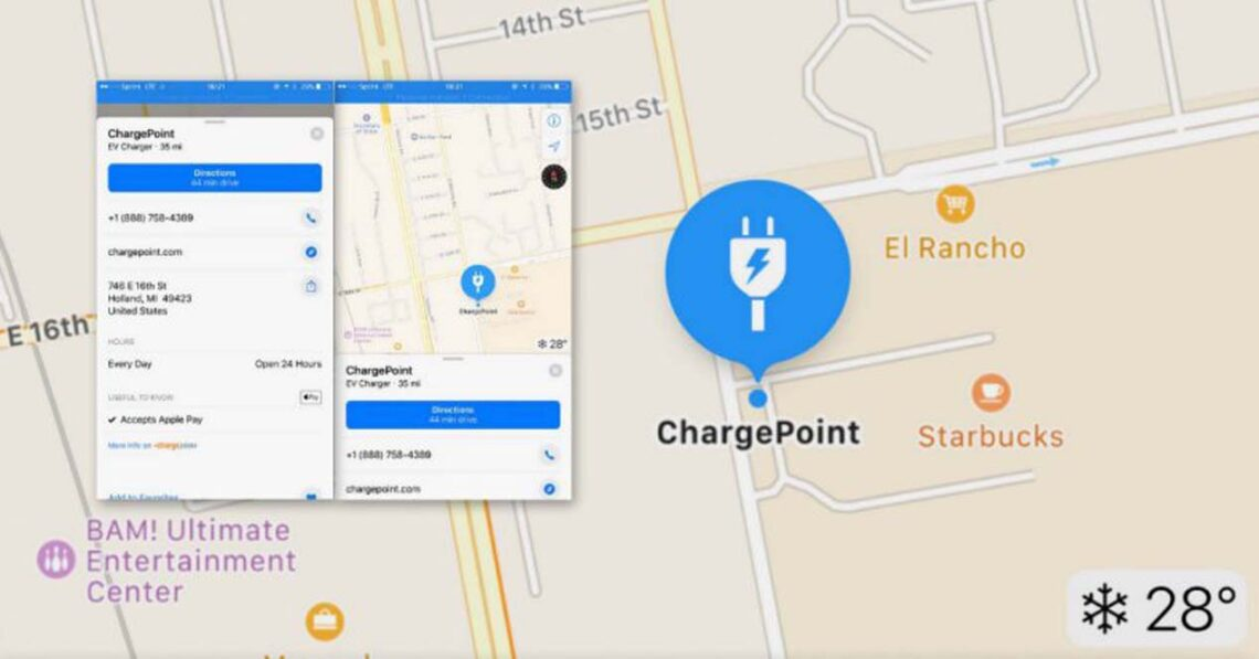 chargepoint apple mapas