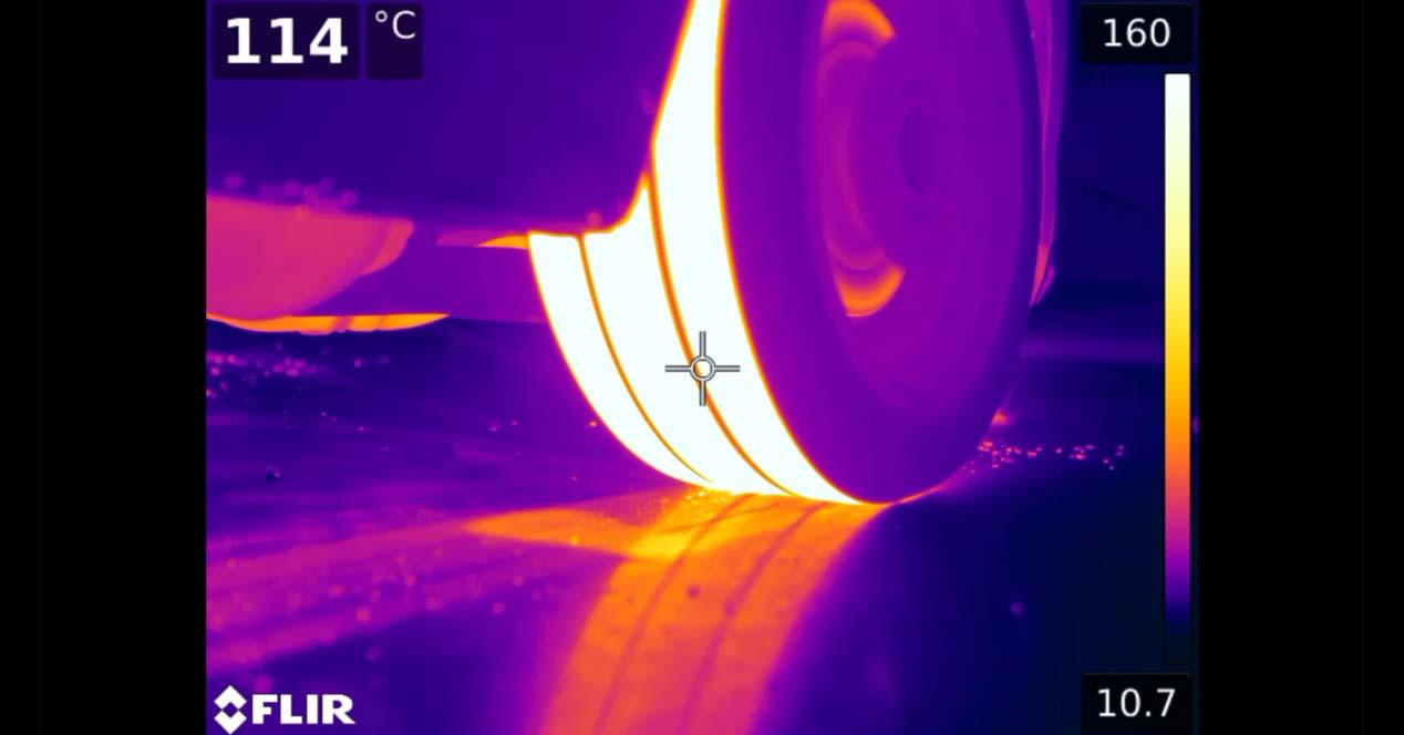 camara termica quemando rueda