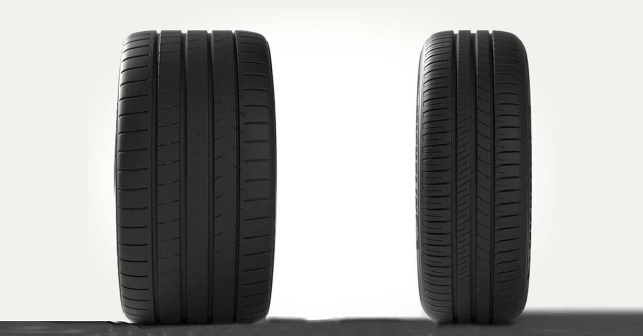 neumáticos anchos y neumáticos estrechos, diferencias