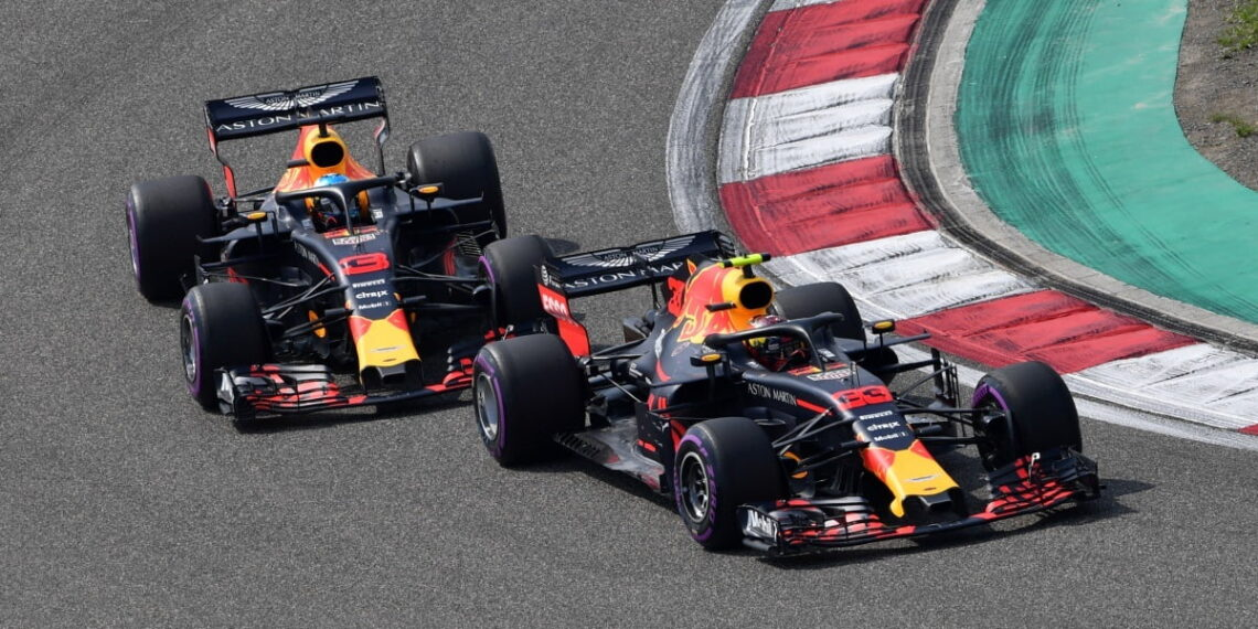www.sutton-images.comMax Verstappen (NED) Red Bull Racing RB14 leads Daniel Ricciardo (AUS) Red Bull Racing RB14 at Formula One World Championship, Rd3, Chinese Grand Prix, Race, Shanghai, China, Sunday 15 April 2018.